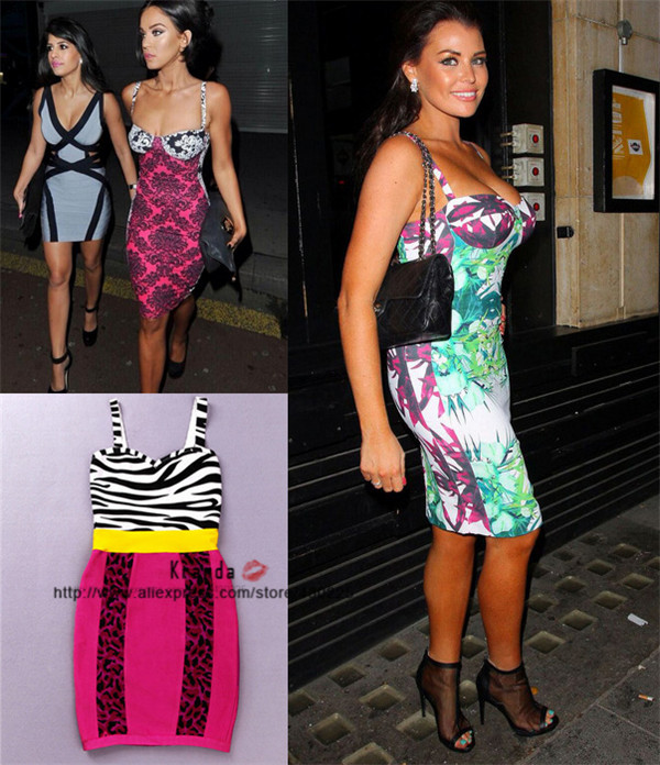Free shipping New Arrival TROPICAL BAMBOO PRINT PENCIL Sexy HL Bandage Dress Prom Dresses #BD307(China (Mainland))