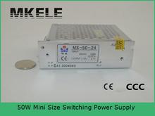 50 Вт низкая стоимость мини с малыми объемами один выход типа из светодиодов мини 50 Вт 24 В dc переключатель питания мс-50-24 для стабильного выходного