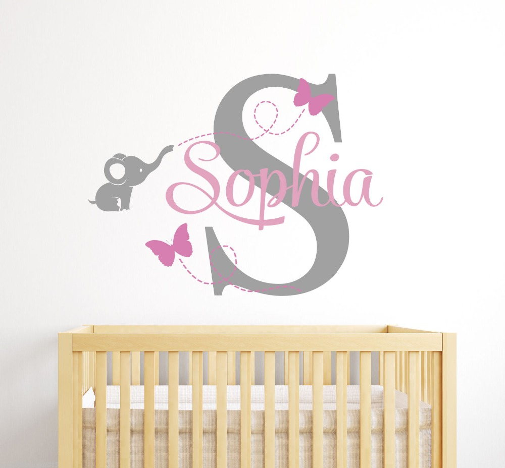 Cute Elephant Custom Girl Name Wall Sticker Home Decor Vinyl