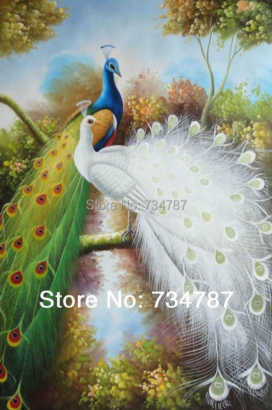 Hand Painted Peacock Decor Modern Oil Painting on Canvas Art Office Wall Decoration Beautiful Blue and White Indian Peafowls(China (Mainland))