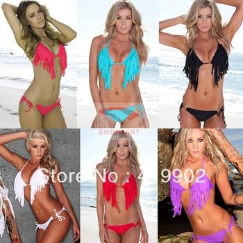 2013 New Fashion Women's Sexy Bikini Top Set Fringed Tassels Swimwear Swimsuit Size S M L XL Free Shipping