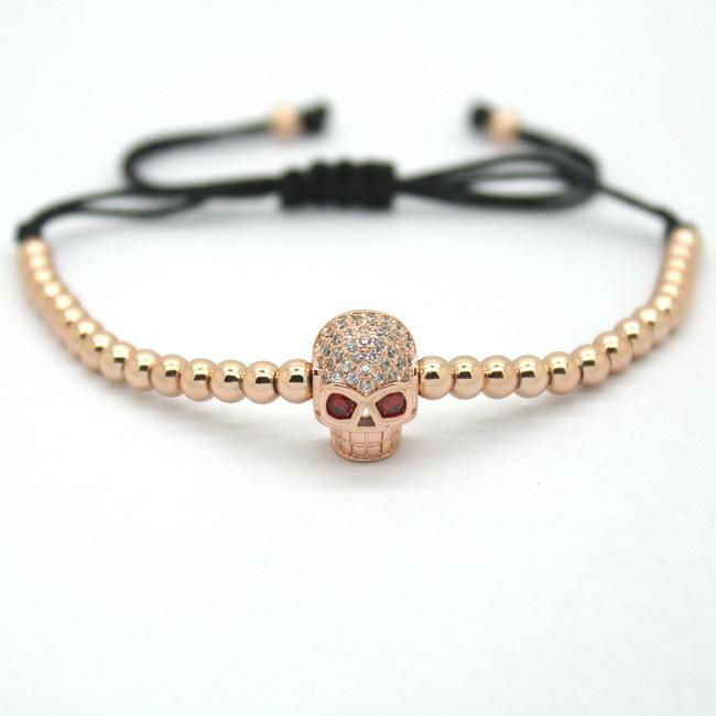 Anil Arjandas Fashion Men Black Bracelet Pave Setting Black CZ Evil Eye Connector 4mm Round Bead