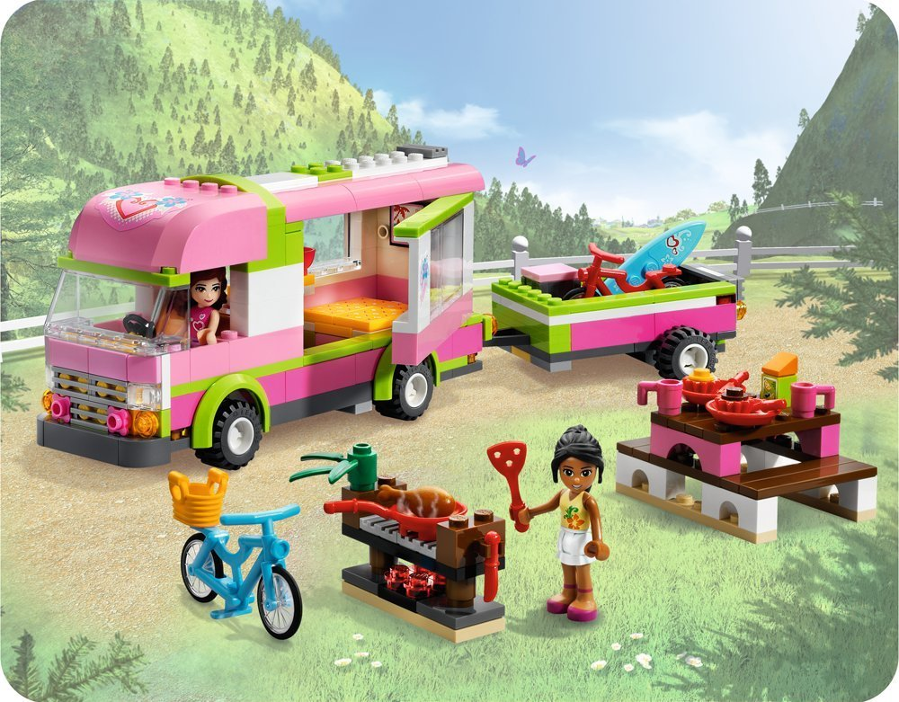 OLIVIA'S Friends 3184 Adventure Camper Retired Olivia Nicole camping bicycle gril Assembling building blocks with lego(China (Mainland))