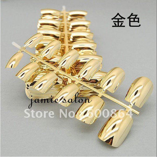Gold Color Metalic Nail Nail Tips Nail Arts Design Manicure Tips Freeshipping Nail Accessory