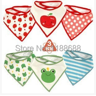 Retail Cotton baby girls and boys bibs waterproof burp cloths saliva towel with lovely animals and aples(China (Mainland))