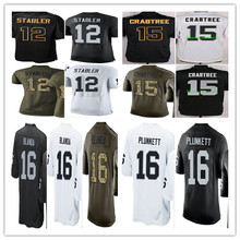 2016 #12 Kenny Stabler,#15 Michael Crabtree,#16 George Blanda,Jim Plunkett men women youth Jerseys Black White Black Green M-4XL(China (Mainland))