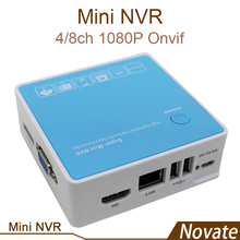 4ch/8ch 1080P ONVIF Mini NVR DVR  HD Network Video Recorder  E-SATA 1HDD  5V/2A P2P for IP camera with HDMI and VGA Output