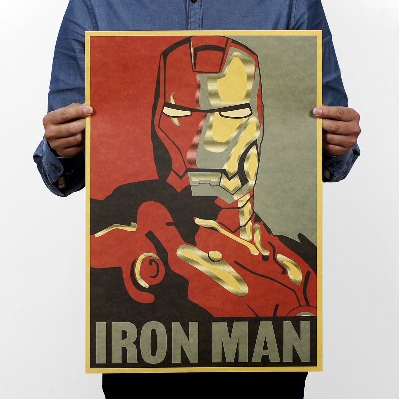 51*35.5cm Hollywood Movie PosterRemovable Mural Home Decor Wall Sticker Top Selling New Iron Man Posters(China (Mainland))
