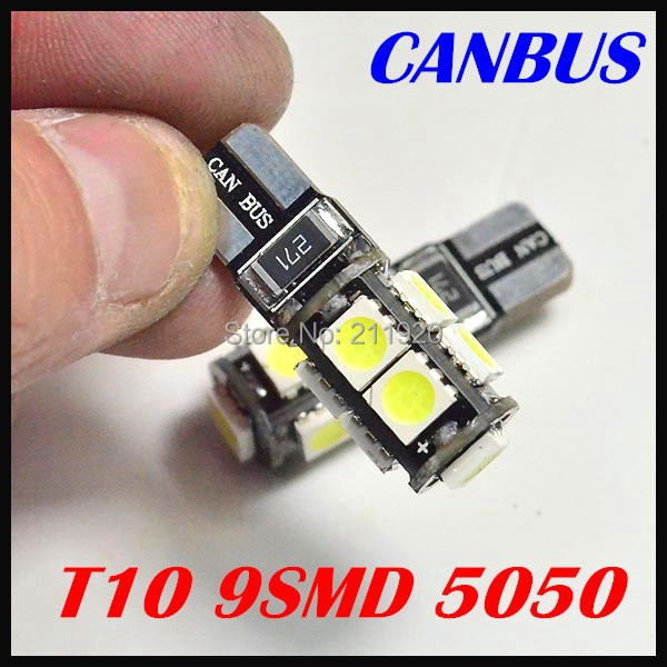 Free Shipping 10pcs/lot  Canbus Car LED SMD Light + Canbus T10 W5W 194 9SMD 5050 led BULB LIGHT WHTE<br><br>Aliexpress