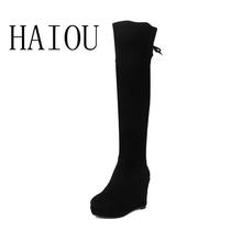 2016 Nuevo de Las Mujeres Botas de Tacón De Invierno Sobre La Rodilla Botas Altas Zapatos de Algodón Acolchado cálido Mujeres Altas Cuñas Botas de Nieve de Cuero de Gamuza(China (Mainland))