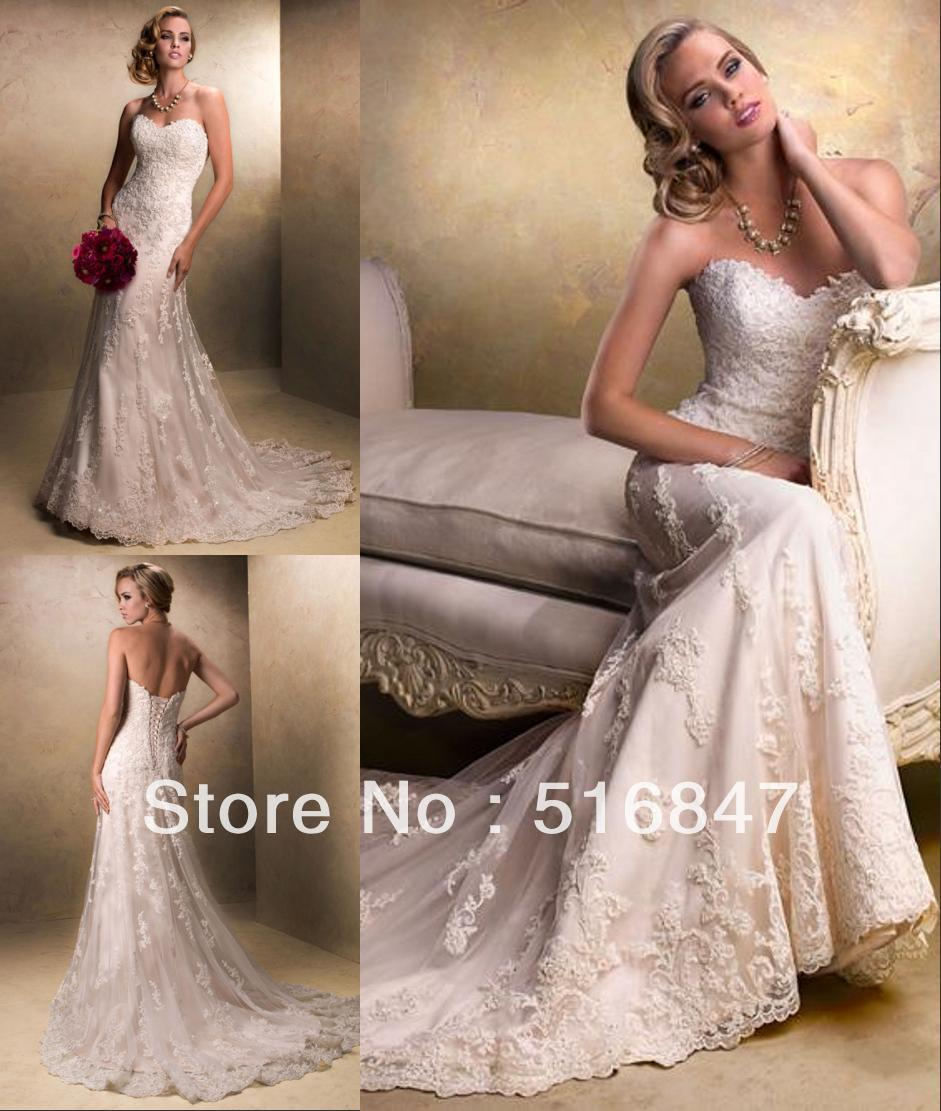 Mermaid Gown Wedding Dress: Stock New Style Ivory/white Long Tulle Strapless Applique