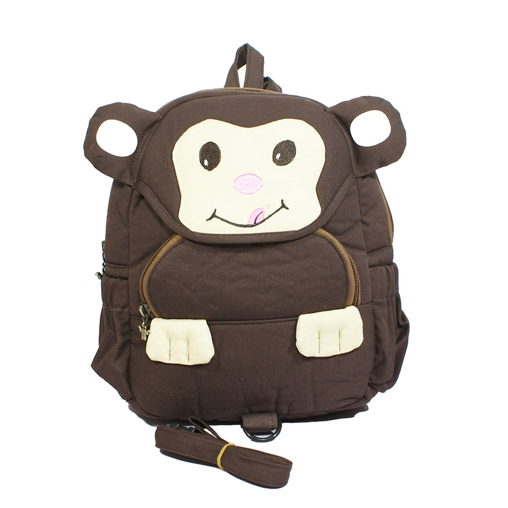 boys and girls monkey cartoon backpack,kids canvas anti-lost back pack(China (Mainland))