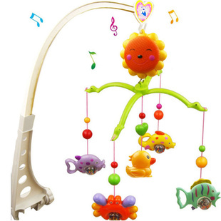 Baby Rattle Toys Newborn Baby Boy Girl 0-12 Months Crib Plastic Rotating Musical Bed Bell Mobile Toys(China (Mainland))