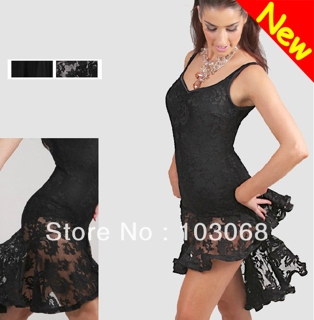 NEW Stage Prom  Latin salsa tango Ballroom Dance Dress #S8022 Black Red White Fishtail lace vest dress