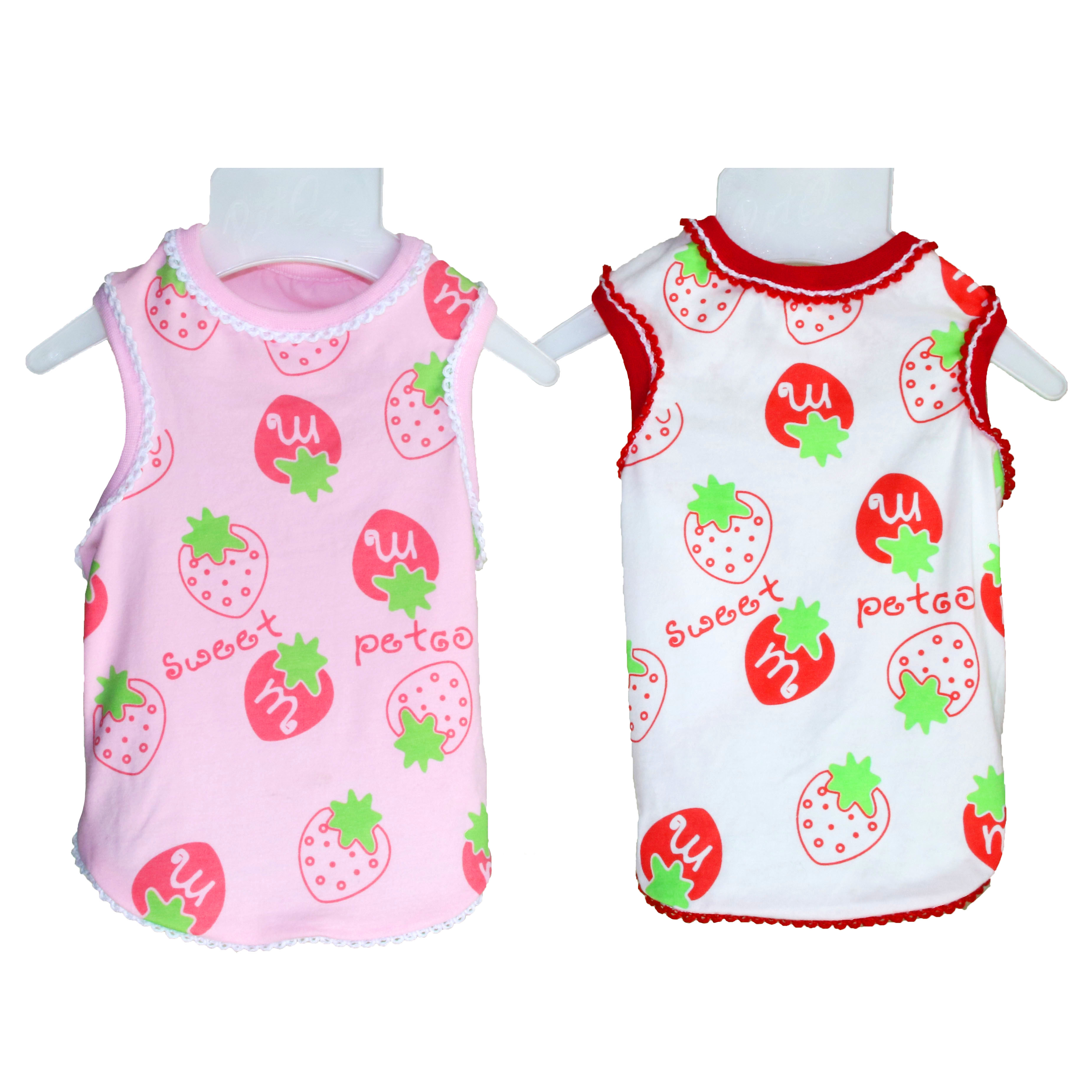 New Fashion Cat Dog Clothesl Sweet Strawberry 100% Cotton Dog Summer Vest Shirt Chihuahua Small Dog Clothes Pink And White(China (Mainland))