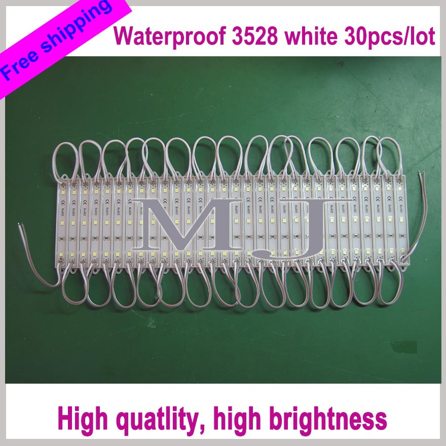 Free shipping 30pcs/lot 2835 SMD 3LEDs LED Module White Waterproof Light Advertising lamp DC 12V led channel letter advertising(China (Mainland))