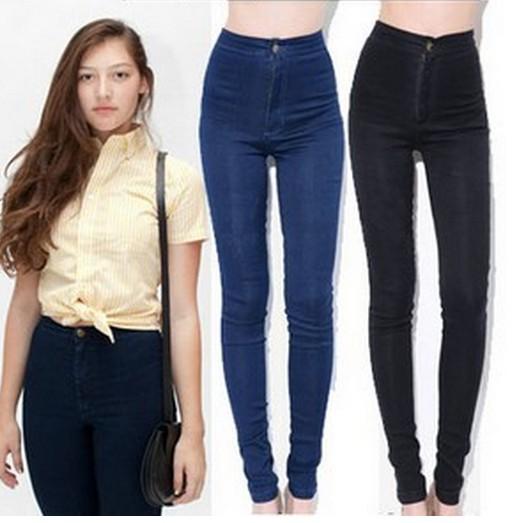 2014 fashoin women vintage American Apparel jeans woman pencil stretch casual denim skinny jeans pants high waist jeans