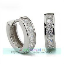 300pcs/lot new men earrings fashion silver color crystal earrings wholesale price(China (Mainland))