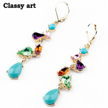 New Fashion Jewelry Alloy Multicolor Long Drop Earrings for Women Factory Wholesale(China (Mainland))