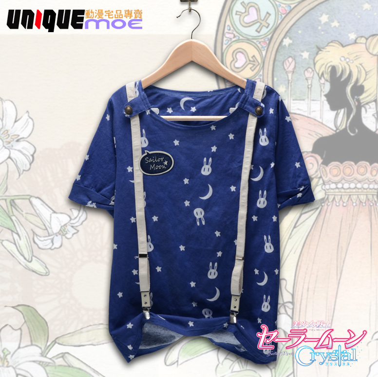 Sweet Sailor Moon Tshirt Japan Anime Shirt Cat Luna Cosplay Vestidos For Girls WIth Suspenders Free Shipping(China (Mainland))