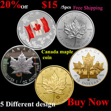 Mix 5pcs one ounce 2013&2015 canada maple leaf silver coin,1/2 canada coin,2015 canada gold maple leaf coin,canada flag coin(China (Mainland))