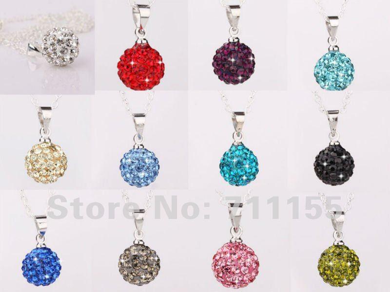 Wholesale 20 pcs/lot, Hight Quality silver plated shamballa pendant Of Necklace ,10mm Crystal Beads Shamballa Pendant(China (Mainland))