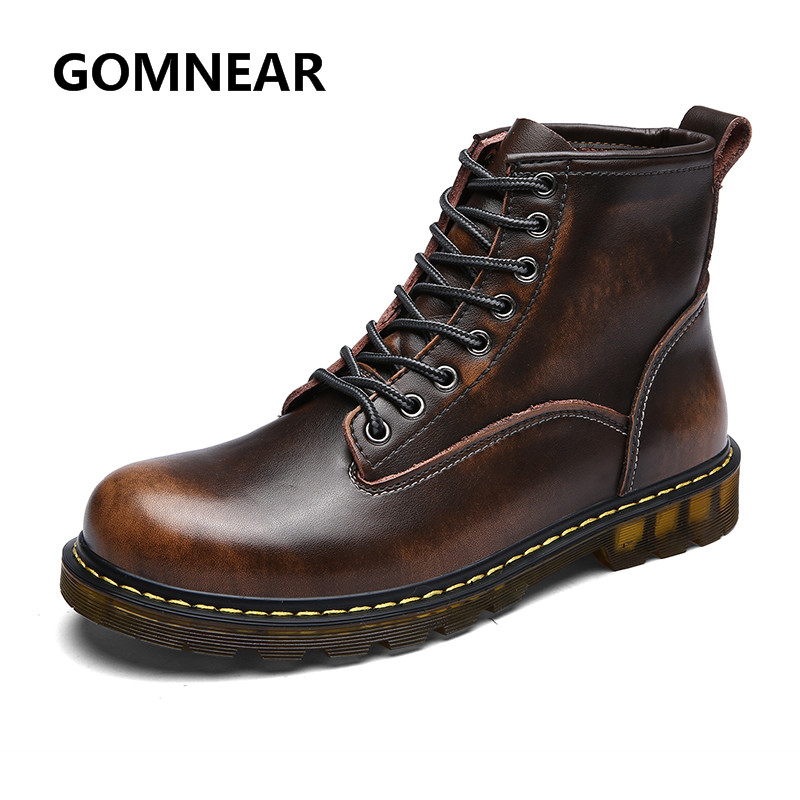GOMNEAR Spring Tooling Shoes Waterproof Cow Leather High Top Hiking Boots Classic Motorcycle Martin Shoes Vintage Thick Sole(China (Mainland))