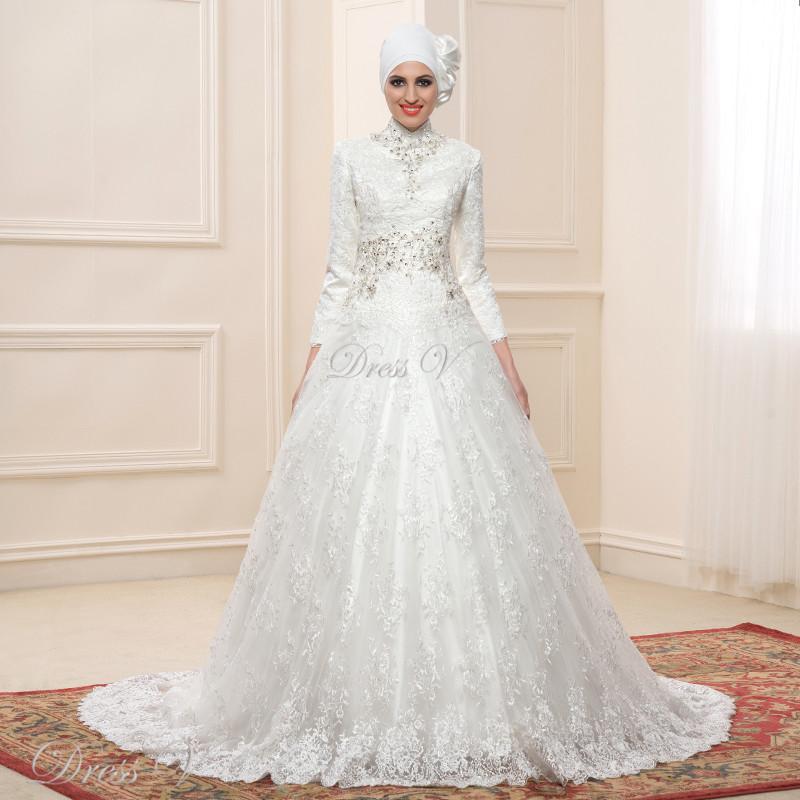 Ballkleid Langarm-muslim Brautkleider Hijab 2017 Vintage Brautkleid ...