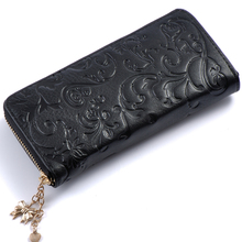 Buy Womens Morning glory Embossed Real Genuine Leather Zipper Long Wallet Clutches Female Lady Coin Purse Card Holder Phone bags for $13.99 in AliExpress store