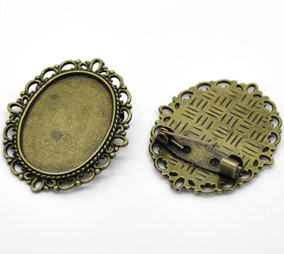 10 Bronze Tone Oval Cameo Frame Setting Brooches 3.6x2.9cm(Fit 25x18mm)(China (Mainland))