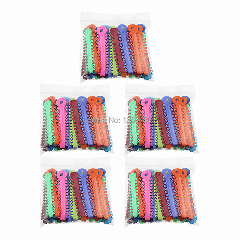 5 Packs (200Pcs) Dental Orthodontic Materials Colorful Ligature Ties Rubber Band Elastic Dentist Products(China (Mainland))