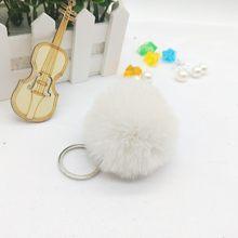 6 cm Falsa Pele De Coelho Bola Pompom Fofo Linda Corrente Chave Chaveiro Chaveiro Bonito Pom Pom Clef Porte Para As Mulheres charme saco de Brinquedos(China)