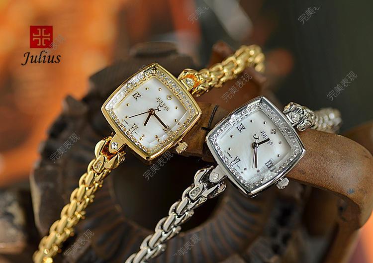 Новые женские Часы Юлий Япония Кварцевых Часов Лучший Моды Платье Браслет Оболочки Горный Хрусталь Именинница Рождественский Подарок Коробка 871