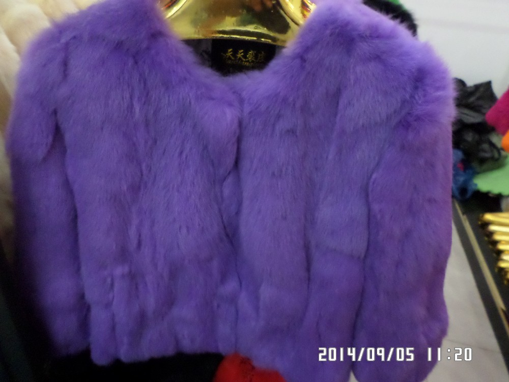 new2016 rabbit fur coat short design o-neck fur three quarter sleeve
