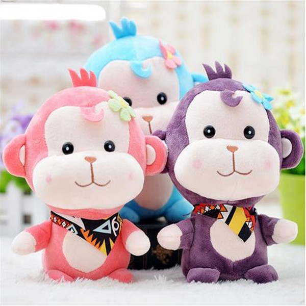 cute monkey Silk scarf stuffed toys doll plush toys blue/pink birthday christmas gift(China (Mainland))