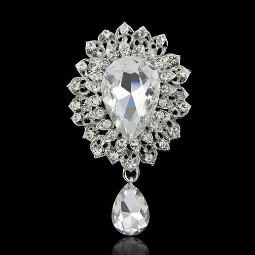 3 Inch Glass Brooch Wedding Bridal Party Prom Diamante Crystal Pins Vintage Silver - Yiwu Liangqian Accessories Firm (Mini Order>$8 store)
