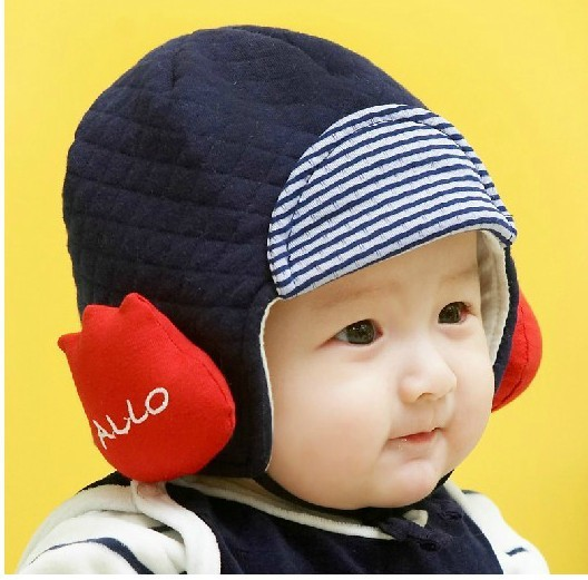Free Shipping Winter Warm Baby Cotton Hat Earmuffs Cap for Your Cute Baby(China (Mainland))