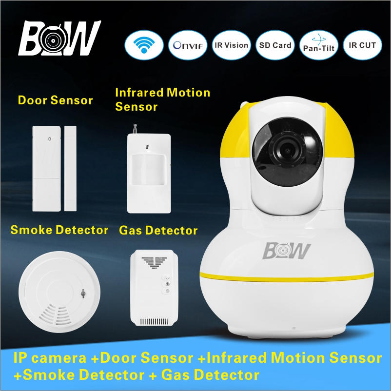 BW12Y Home monitoring equipment set Night Vision Megapixel HD IP camera+Door &amp; Infrared Motion Sensor+ Smoke &amp; Gas Detector<br><br>Aliexpress