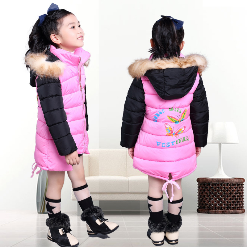 Girls Down Coats Girl Winter Collar Hooded Outerwear Coat Children Down Jackets Children's Thickening Jacket Cold Winter 6-10Y(China (Mainland))