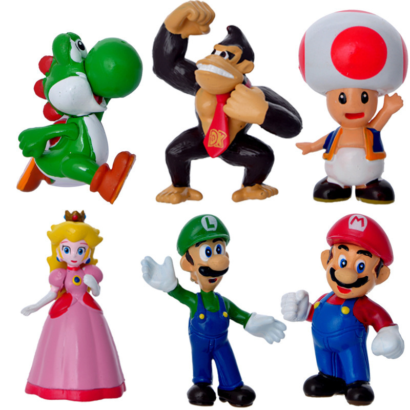 High Quality 6pcs/lot PVC Super Mario Bros Luigi Action Figures Toys Kids Boys Girls Gift(China (Mainland))