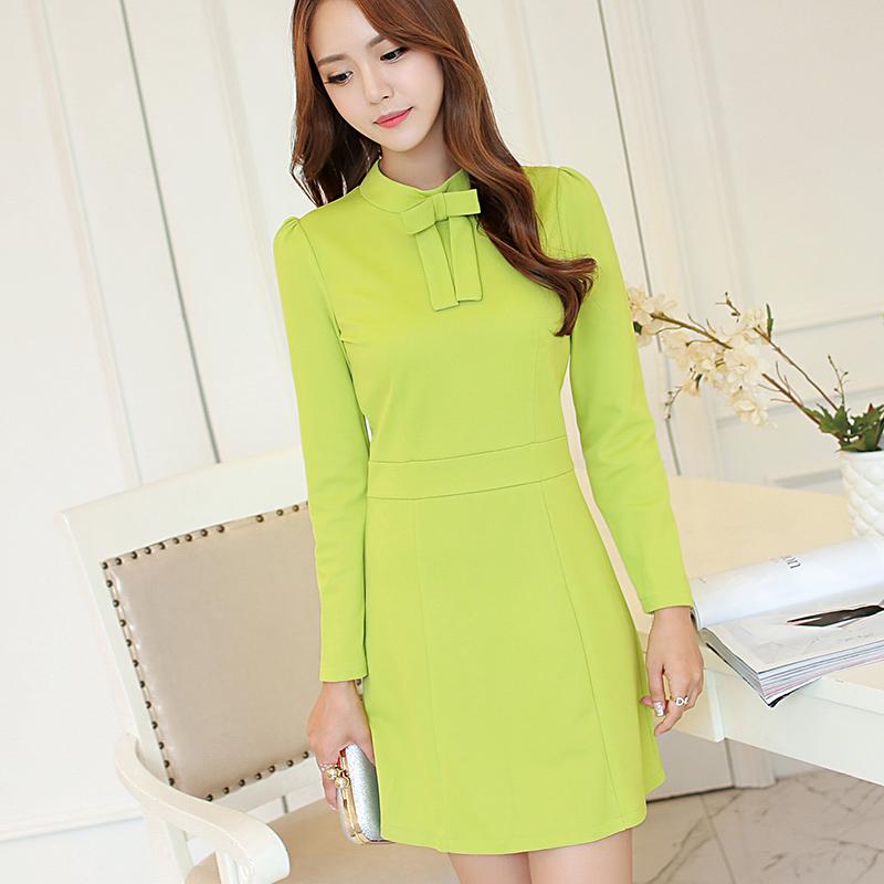 Fashion Korean Style Dresses For Women Cute Dot Print Womens Long Sleeve Dresses Ladies Lolita Midi Dresses Bowtie Vestidos