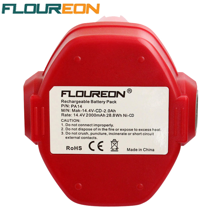 FLOUREON 14.4V 2000mAh Ni-CD Rechargeable Battery Packs Power Tool Replacement Battery Cordless Drill for Makita PA14 1422 1433(China (Mainland))