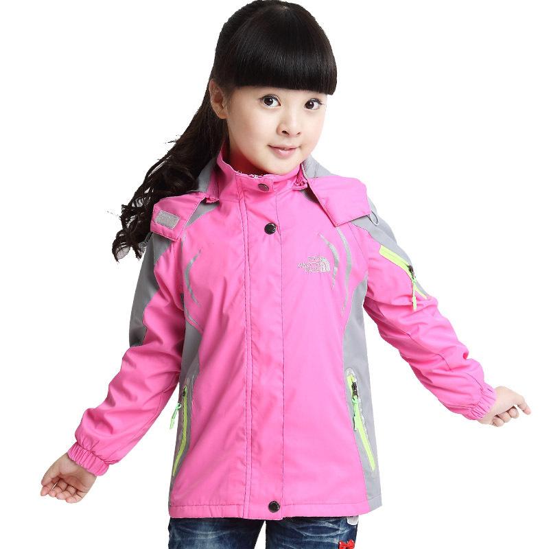Girls Winter wind jacket windbreaker Coat kids Hooded waterproof mountaineering warm jackets childrens outerwear coat(China (Mainland))