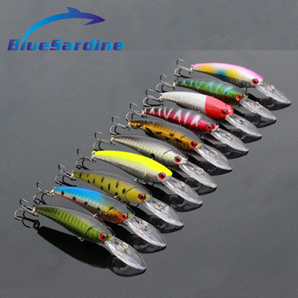 Гаджет  10PCS Crank Minnow Fishing Lures Hard Bait Plastic Crankbait Long Tongue Artificial Fish Pesca Tackle Swimbait 10.5CM 8G  None Спорт и развлечения