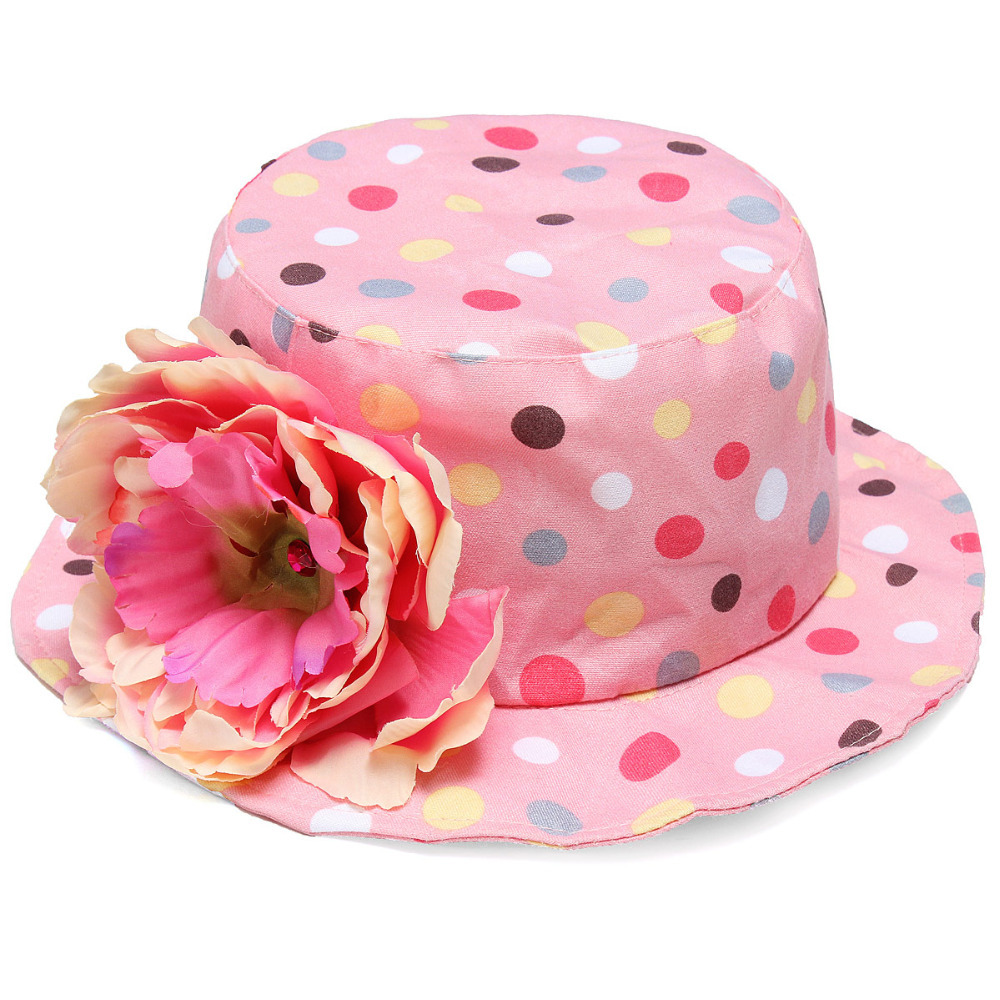 2014 Summer Hot Selling Flower Polka Dots Baby Bucket Hat Kids Infant Toddler Girl Cotton Summer Bucket Sun Visor Cap(China (Mainland))
