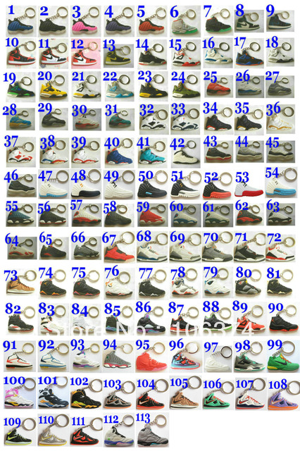 2013 New Arrival 113pcs/set Mix items 2D Sneaker keychain Basketball Shoes key ring