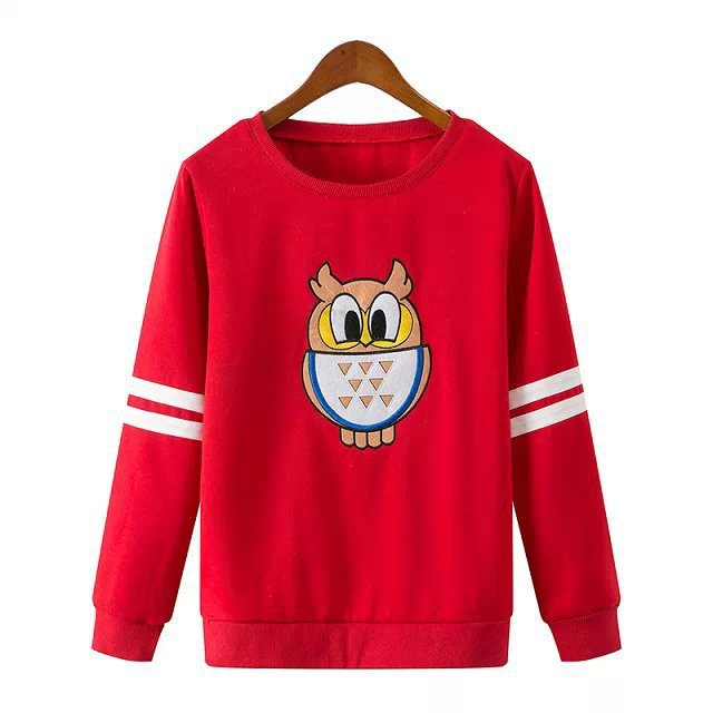 Spring 2015 Cartoon Owl Print Red Sweatshirts Women Long-sleeved Round Neck Casual Sport Suit Female Pullover Fashion Quality - Nanafast Style Shop store