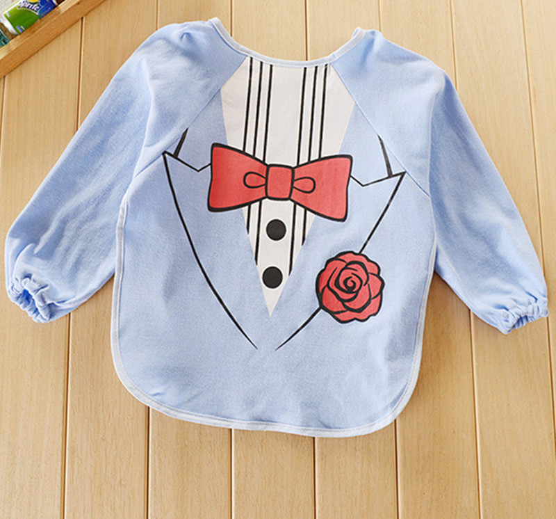 1 pc Children bib Bib Superman Long sleeve anti dress / Waterproof Bib / overclothes Rice pocket Drawing clothes GTRK0057(China (Mainland))