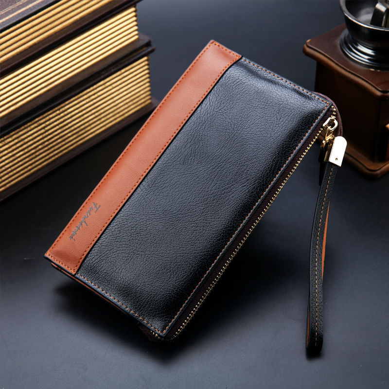 Hot sales men's wallet fashion brand leather purse famous long wallets casual big size zipper clutch promotion gift designer(China (Mainland))