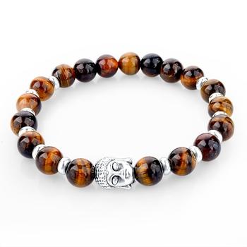 2015 натуральный камень будда браслет тигровый глаз бусины браслеты для женщин и ...